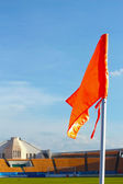 Orange flag football field — Foto de Stock