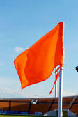 Orange flag football field — ストック写真