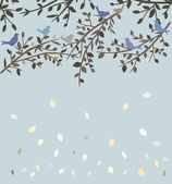 Birds sitting in autumn tree — Stock Vector