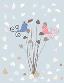 Alla hjärtans-kort med fåglar i kärlek — Stockvektor