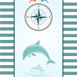 Stock Vector: Dolphin and Compass rose