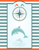 Dolphin and Compass rose — Stock Vector