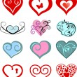 Valentine or wedding love hearts — Stock Vector