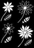 Padrão sem emenda floral preto e branco — Vetorial Stock