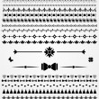 Page dividers, borders,  and decorations, black and white — Stock Vector