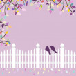 White fence with birds and branches — Stock Vector #50140193