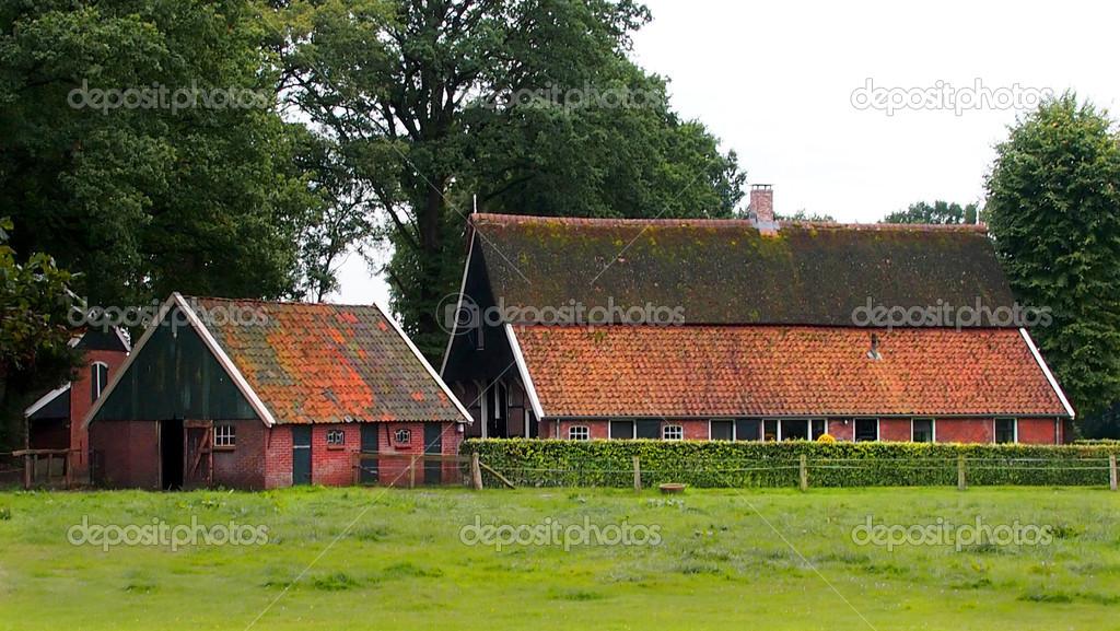 Restored Old Dutch Farmhouse Stock Photo