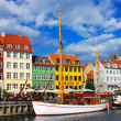 Nyhavn in Copenhagen - Stock Photo