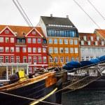 Yacht and color buildings in Nyhavn, Copenhagen — Stock Photo #21442221