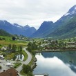 Norwegian village Olden — Stock Photo