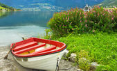 Boat on the beach of Norwegian village Olden — Stock Photo
