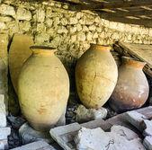 Ancient clay pots excavations — Stock Photo