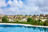 Hotel swimming pool, Goreme, Cappadocia, Turkey — Stok fotoğraf