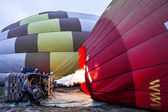 Inflation of balloons - preparation pump for flight — Stok fotoğraf