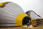 Balloon and basket show preparing for start in Cappadocia, Turke — Stockfoto