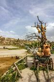 Cart with ceramic jugs in Cappadocia, Turkey — Stock Photo