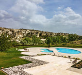 Open swimming pool, Goreme, Cappadocia, Turkey — Stok fotoğraf
