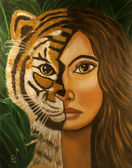Beautiful woman half tiger face — Stock Photo