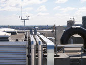 Technical installation on the roof of a skyscraper — Stock Photo