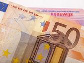 Licença de notas de banco e carro 50 euro — Fotografia Stock
