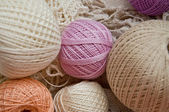 Pastel cotton skeins — Stock Photo