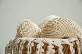 Cotton skeins in a basket — Stock Photo