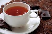 Kopp te med choklad — Stockfoto