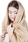 Young woman in the shawl — Stock Photo