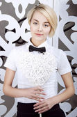 Office girl in a bowtie — Stock Photo