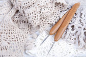 Handmade crocheted lace napkin with hooks — Foto de Stock