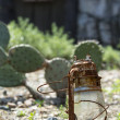 Desolate Desert Lantern and Mine — Stock Photo