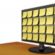Stock Photo: Note Covered Monitor on Desk