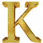 Rich Golden Cube Alphabet - K — Stock Photo #40880631