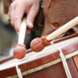 Medieval clubs snare drum — Stock Photo