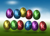 Coloured Happy Easter Eggs — Stock Photo