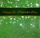 St. Patricks Day Greeting Glitter Clover — Stock Photo