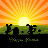 Cute Easter Rabbits Silhouette — Stock Photo