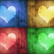 Coloured Grunge Hearts - Stock Photo