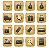 Golden eShop Icons — Stock Vector