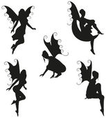 5 Vector Fairy Silhouettes — Stock Vector