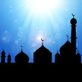 Mosque Silhouette with Sunburst — Photo