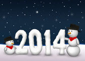 Cute Snowmen 2014 — Stock Photo