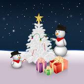 Lindos muñecos de nieve con árbol de navidad y regalos — Foto de Stock