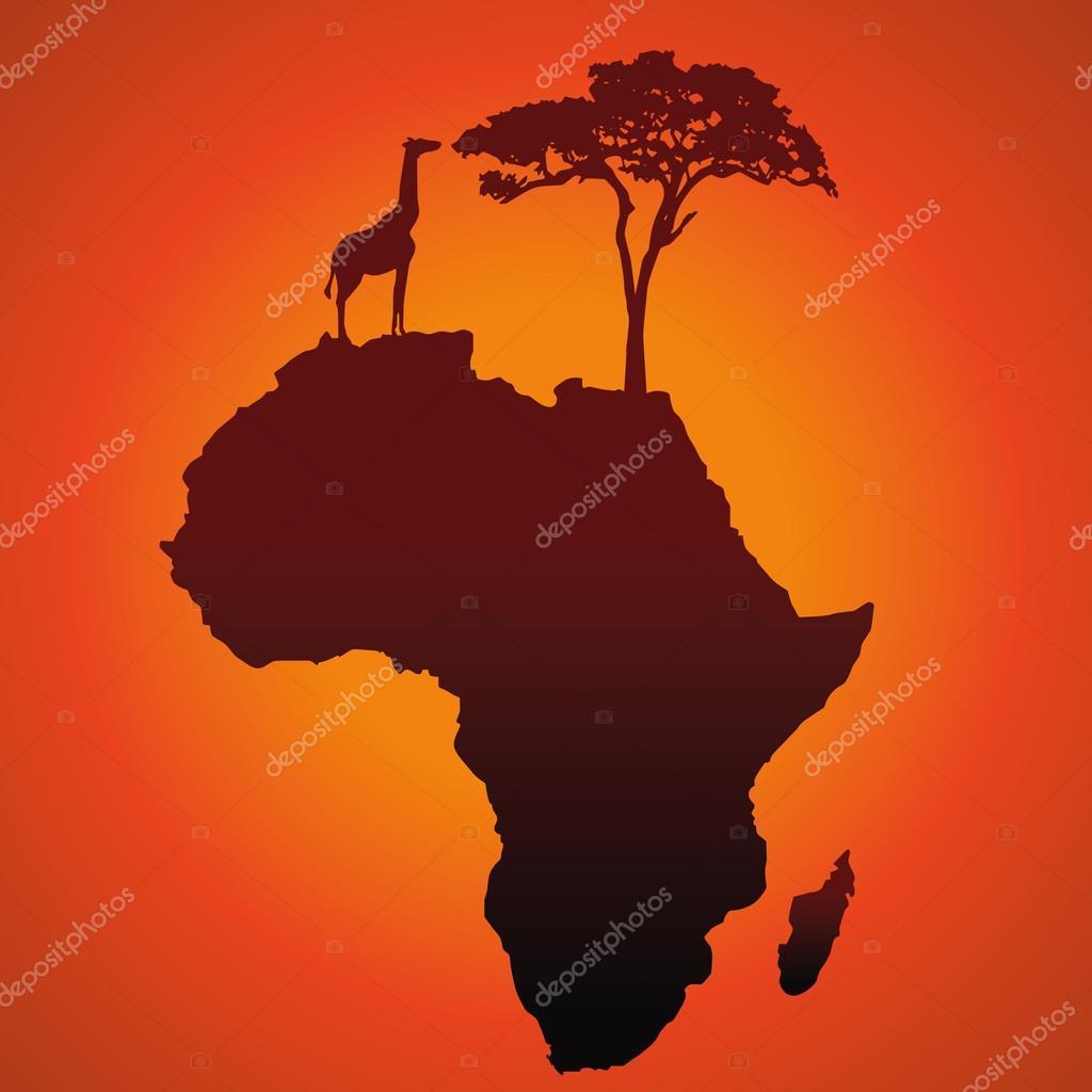 非洲野生动物园地图轮廓矢量背景与长颈鹿