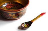 Khokhloma bowl and spoon — Stock Photo