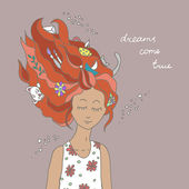 Illustration of fairy girl in the dreams — Stock Photo