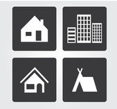 Website and Internet icons: buildings — Stock Vector
