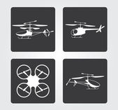 Website and Internet icons: RC models helicopters — Stock Vector