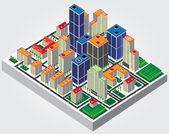 Eenvoudige web pictogram in vector: isometrische stad — Stockvector