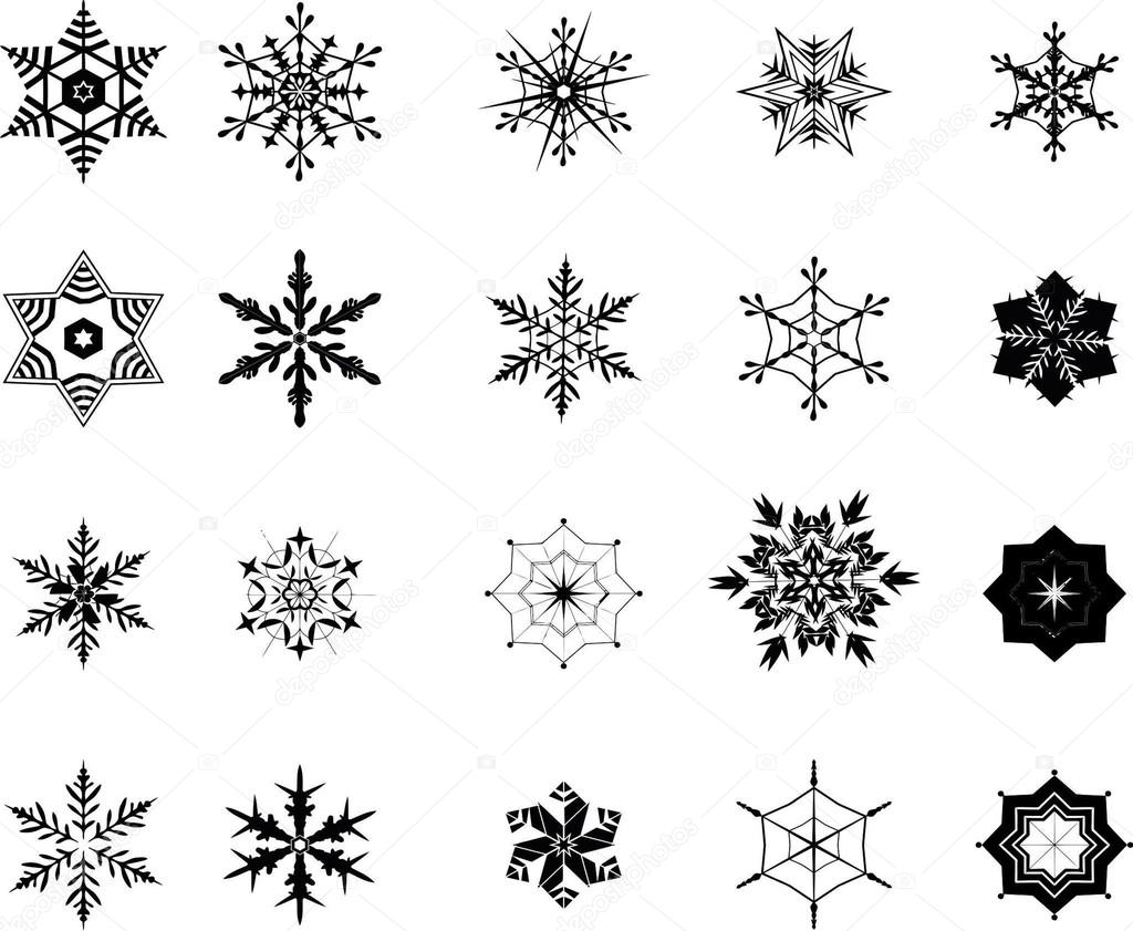 Twenty vektor snowflakes in black — Stock Vector #19236227